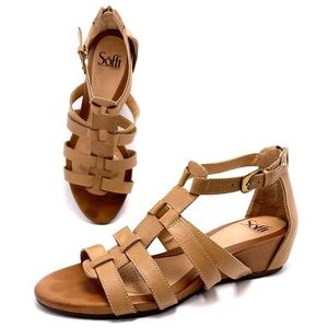 Sofft 8M Tan Leather Gladiator Wedge Sandals